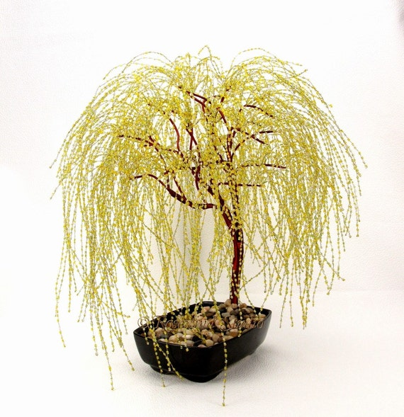 Golden Weeping Willow Beaded Bonsai Tree - Glass and Wire Tree Sculpture -  t0147