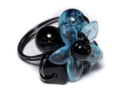 Summer Flower Ring - Turquoise Black White - RESERVED for Mimiero