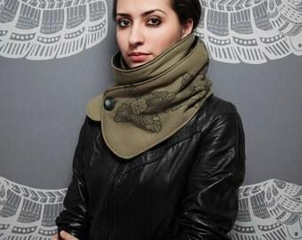 SALE 65% OFF: The Khaki Dragon Scarf - silkscreen - handmade women scarf - organic cotton