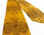 Psychedelic Eye Men's Tie - Chocolate Brown on Old Gold Tie