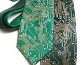 Circuit Board Tie - Men's Necktie - Metallic Ink on Green or Black Necktie - Science Gift - Screen Printed Tie
