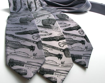 Men's Necktie - Instrumental Oddities necktie - Musical Instruments on Microfiber tie