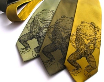 Men's Gift - Pretentious Frog Mens Necktie - Screen Printed Frog Tie - Animal Necktie