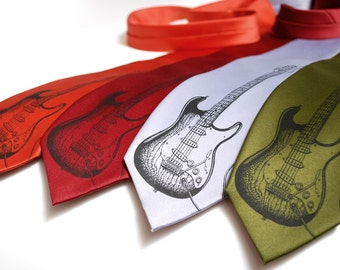 Electric Guitar tie - Music lover's microfiber necktie