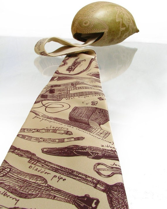 Geeky Tie - Instrumental Oddities Necktie - Musical Instruments on Microfiber Tie