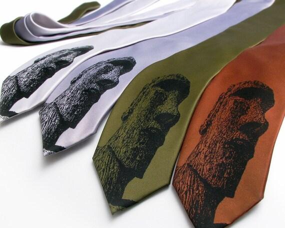 Easter Island Necktie - Screen Printed Microfiber Necktie