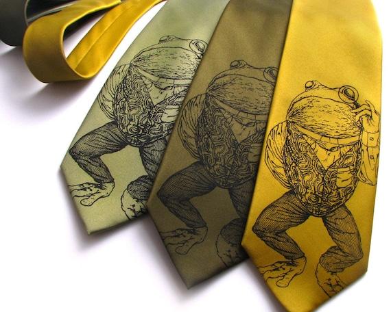 Men's Gift - Pretentious Frog Mens Necktie - Screen Printed Frog Tie - Animal Necktie