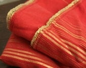 Beautiful red and metallic gold throw -- light bed sheet or wall hanging -- tribal belly dance shawl  -- tablecloth picnic blanket