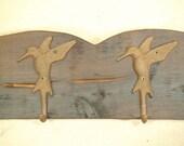 Rustic hummingbird coat rack -- (1/2 price sale) shabby chic farmhouse decor -- rich patina on cast iron hooks and western cedar
