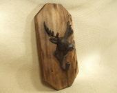 Rustic Cast Iron Moose coat rack  -- lodge cabin decor -- rich patina on cast iron hooks and western cedar