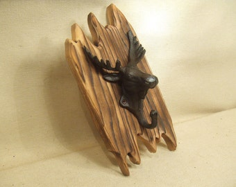 Rustic Cast Iron Moose coat rack  -- lodge cabin decor -- rich patina on cast iron hooks and western cedar
