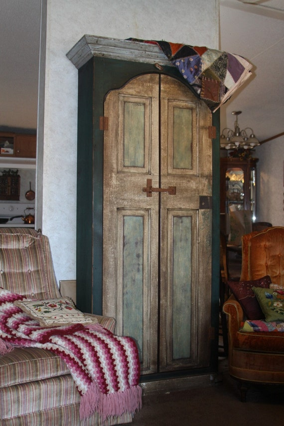 Farmhouse cabinet armoire - reclaimed timbers and door - rustic hardware - fully finished interior - FREE SHIPPING