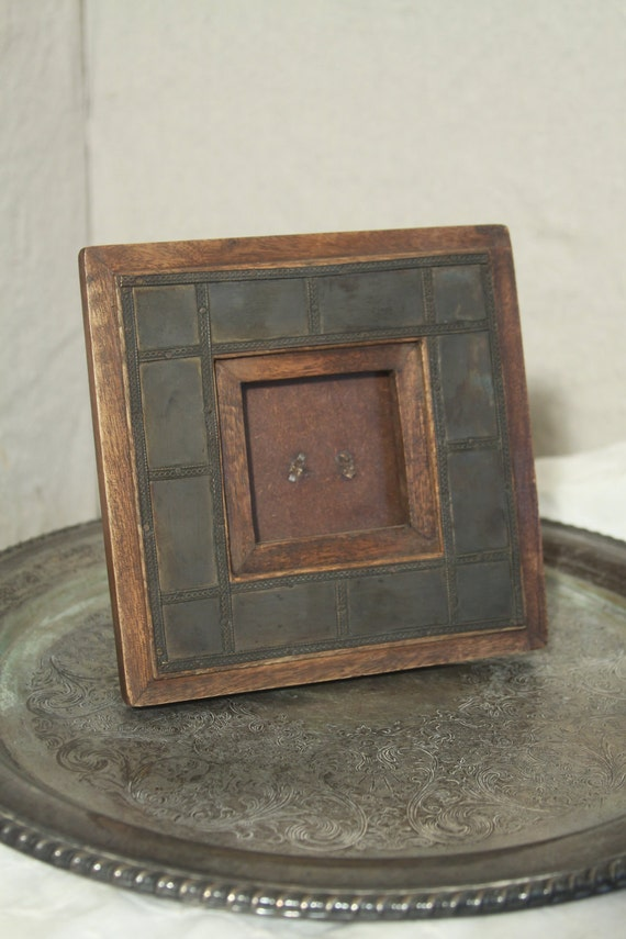 Small Picture Frame Rustic Metal And Wood Mini Frame Dark
