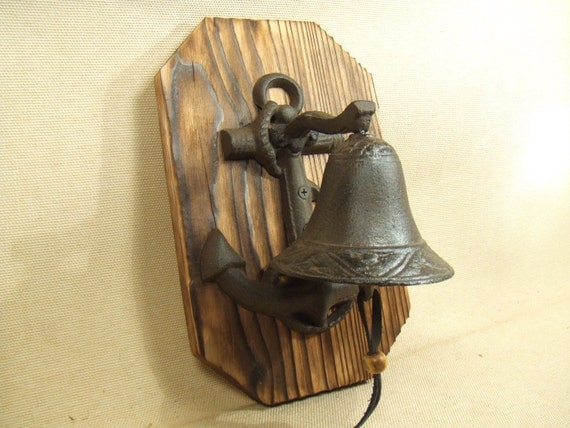 Rustic Anchor Cast Iron Bell  -- lodge cabin decor -- reclaimed western cedar