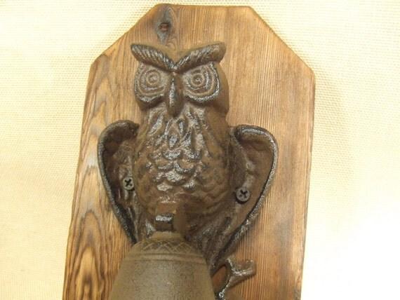 Rustic Owl Cast Iron Bell  -- lodge cabin decor -- reclaimed western cedar