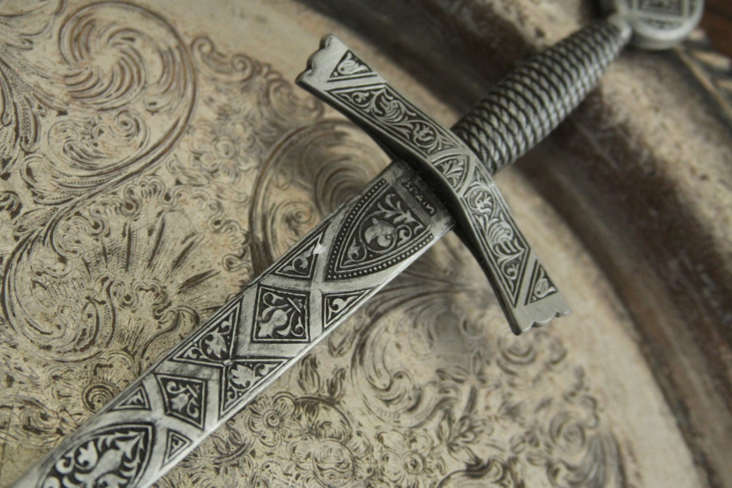 Heavy Pewter Engraved SWORD LETTER OPENER Made In Spain With