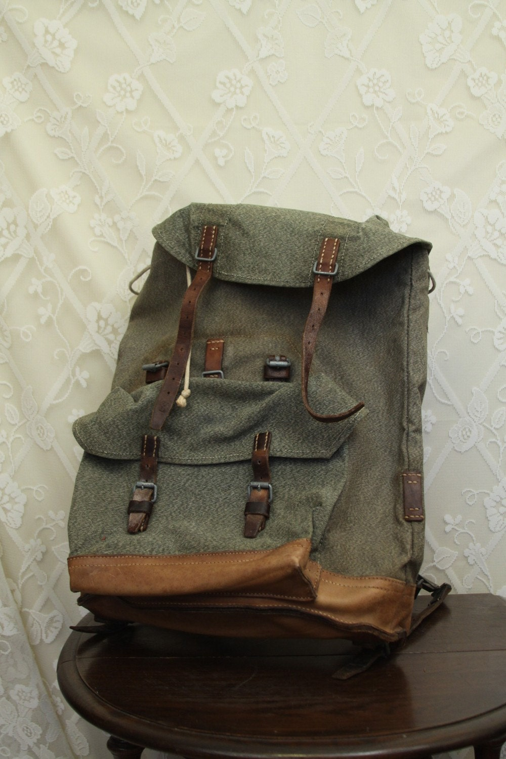 Huge Swiss Army Military Backpack Metal Frame By Blackcathill