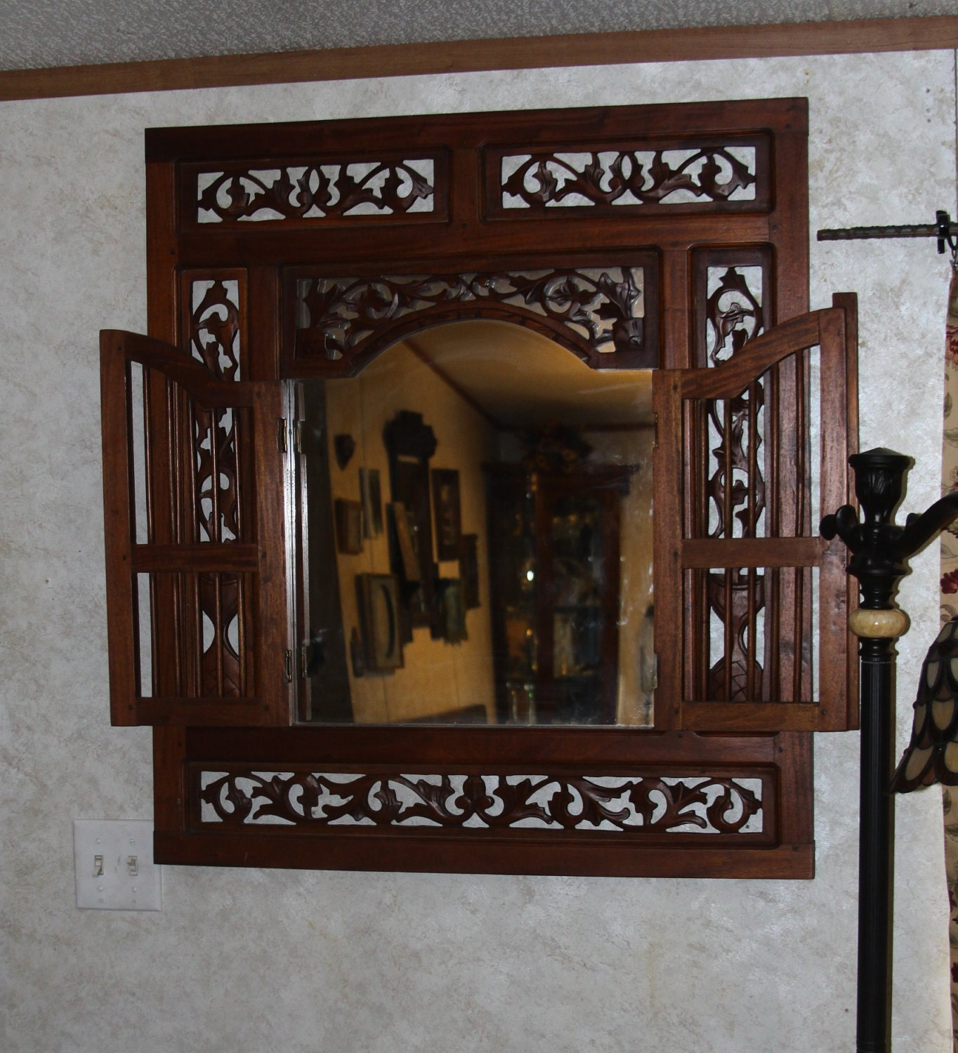 Huge Wood Wall Mirror Solid Mahogany Wooden Shutter Style