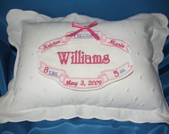 Personalized Birth Certificate PIllow Girl Pink Free Shipping