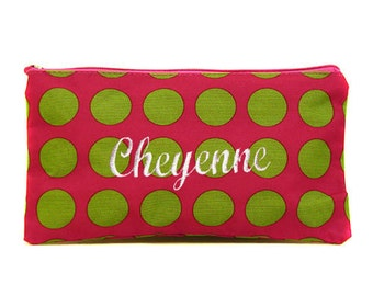 Personalized Cosmetic Case or Pencil Pouch Hot Pink Lime Dots