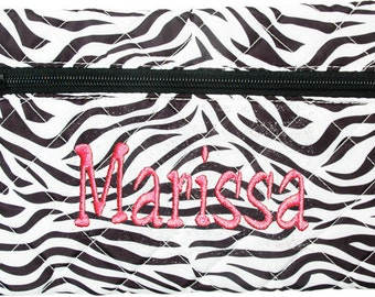 Personalized Quilted Cosmetic Case or Pencil Pouch Zebra