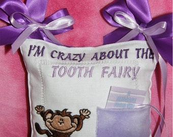 Personalized Tooth Fairy Pillow Girl Monkey Design Free shipping