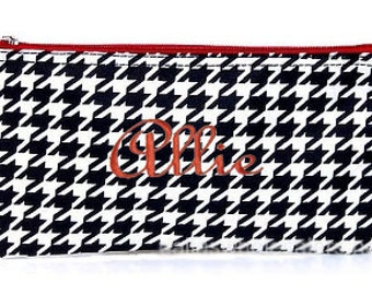 Personalized Cosmetic Case or Pencil Pouch Houndstooth Red Trim
