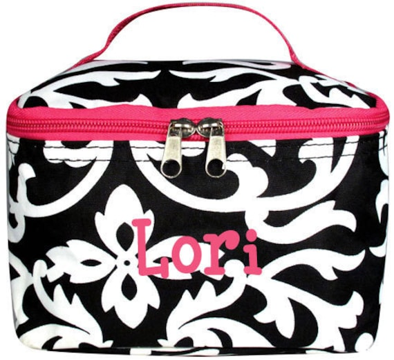 Personalized Cosmetic Case , Bag Black & White Damask Pink Trim Design Free Shipping
