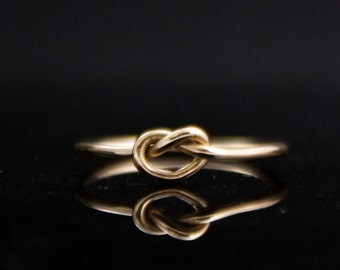 14K Gold heart ring. Solid Gold love knot Promise ring Valentines Day gift