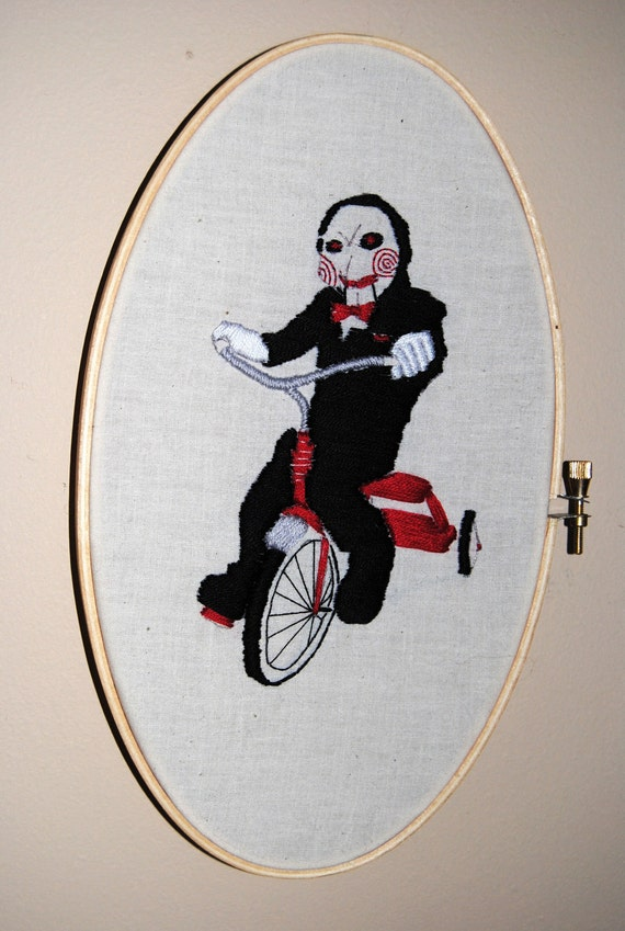 I SAW What You Did There - OOAK Embroidery - Jigsaw from Saw
