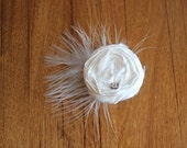 White Rosette adorned with Faux Diamond and Feathers on Clip - or CUSTOMIZE your own.
