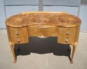 Antique burl wood vanity with beautiful grain
