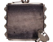 Leather Black Flask Distressed with Pyramid Studs and Funnel  Free Shipping