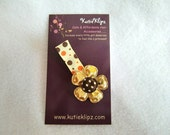 Golden Yellow and Brown Flower Clip....99cents