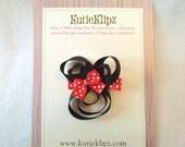 SALE - Minnie Mouse Silhouette Hair Clip, Hair Bow, Hair Accessory, Ribbon Sculpture