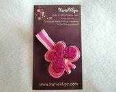 Pink Butterfly and Stripe Hairclip Hairbow. - 1.25 - HM74