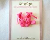 SALE - Pretty Hot Pink Ballerina Slippers Hair Clip... Hair Accessory..Hair Bow