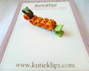 SALE - Speckled Orange Caterpiller Hair Clip, hairclip, hairbow, hair accessory