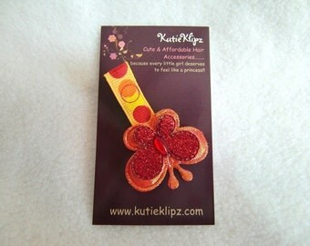 Red Glitter Butterfly Hair Clip - 1.25