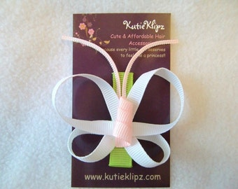 SALE....Purity Love Butterfly - White, Baby Pink and Lime Green Ribbon Sculpture