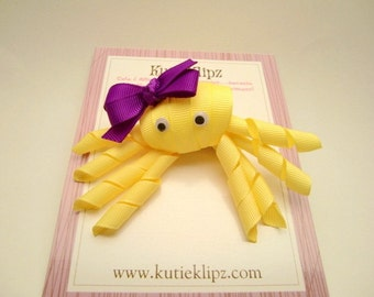 SALE - Sunshine the Yellow and Purple Octopus - Ribbon Sculpture Hair Clip - Hair Accessory - Hairbow