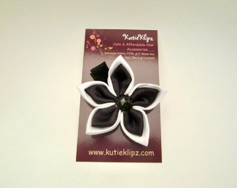 Elegant Black and White Satin Flower Clip - 1.99 Hairclip, Hair Clip, Hair Bow, Hairbow, Hair Accessory - HM28