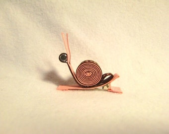 SALE...Chocolate Brown and Pink Freckled Snail ...hair accessory 3D ribbon sculpture hair clip