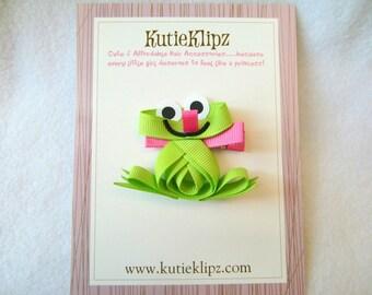 SALE - Ribbit Ribbit Froggy Hair Clip...Ribbon Sculpture,Hairclip,Hair Accessory, Hairbow, Hair bow