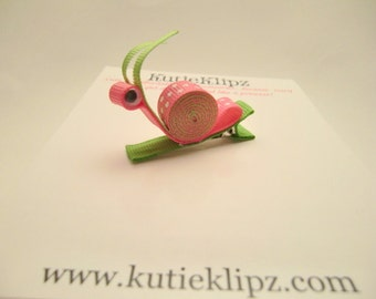 SALE - Molly the Freckled Pink and Lime Green Snail Hair Clip, Hair Accessory, 3D Ribbon Sculpture, Barrette