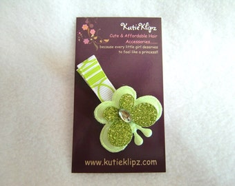 Green Glitter Butterfly Hair Clip - 1.25, Hairclip, Hair Accessory, Barrette