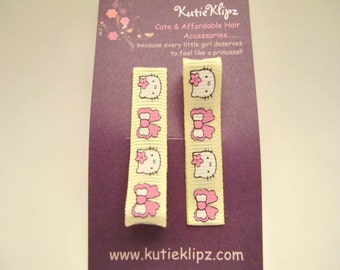 Everyday Sunny Yellow and Hot Pink Kitty Hair Clips -  Hair Accessory, Party Favor