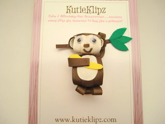 SALE - KoKo the Cheeky Monkey Hair clip, Hairclip, Hair Bow, 3D Ribbon Sculpture, Hair Accessory