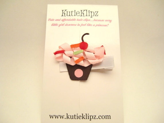 SALE...Light Pink Frosted Cupcake Surprise Ribbon Sculpture Hair Clip...Hairclip, Hair Bow, Clippie, Accessory
