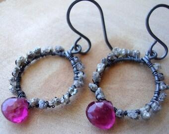 Raw Diamond and Tourmaline Earrings